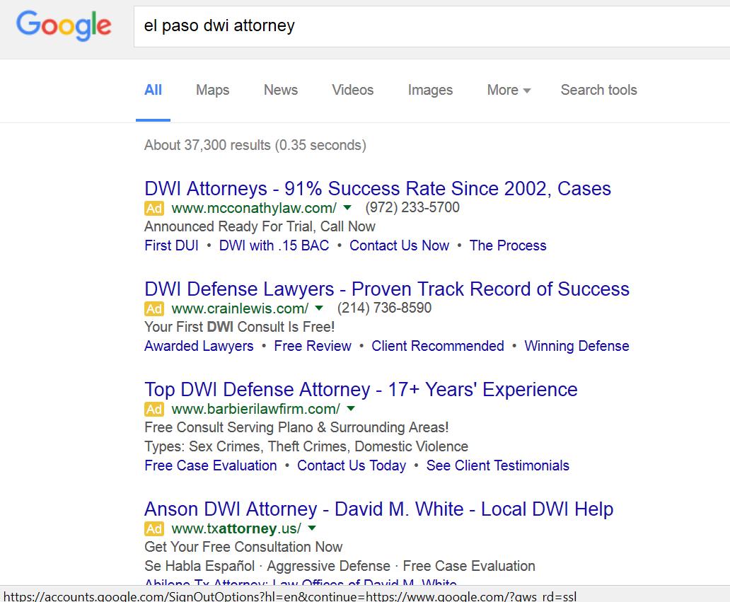 google serps in el paso tx